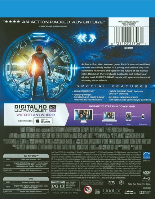 Ender's Game (Blu-ray + DVD + UltraViolet) (Blu-ray 2013 ...