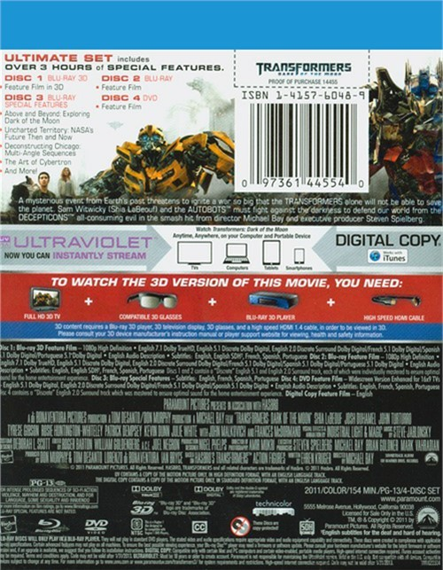 Transformers dark of the moon 3d ultimate edition blu for Architecte 3d 2011 ultimate