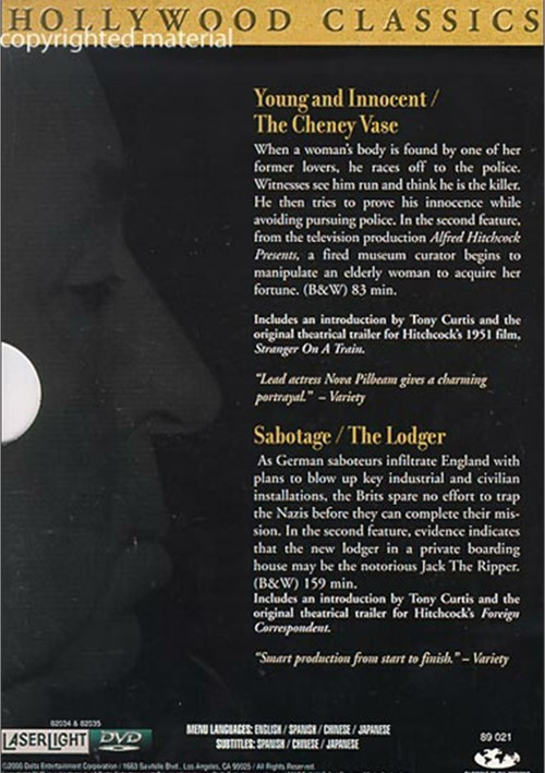 Alfred Hitchcock Young Amp Innocent The Cheney Vase Sabotage The Lodger 2 Dvd Set Dvd
