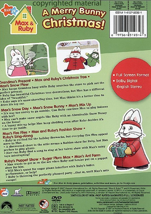 Merry Max Ruby Bunny Christmas Dvd And 2