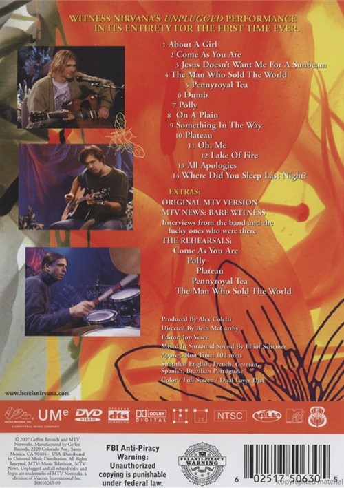 Nirvana: Unplugged In New York (DVD 1993) | DVD Empire