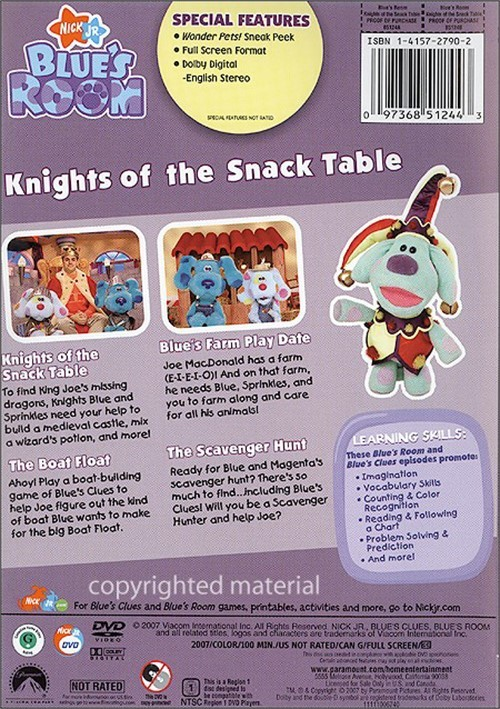 Blue S Clues Blue S Room Knights Of The Snack Table