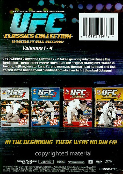 Ufc Classics Collection Volumes 1 4 Dvd Dvd Empire