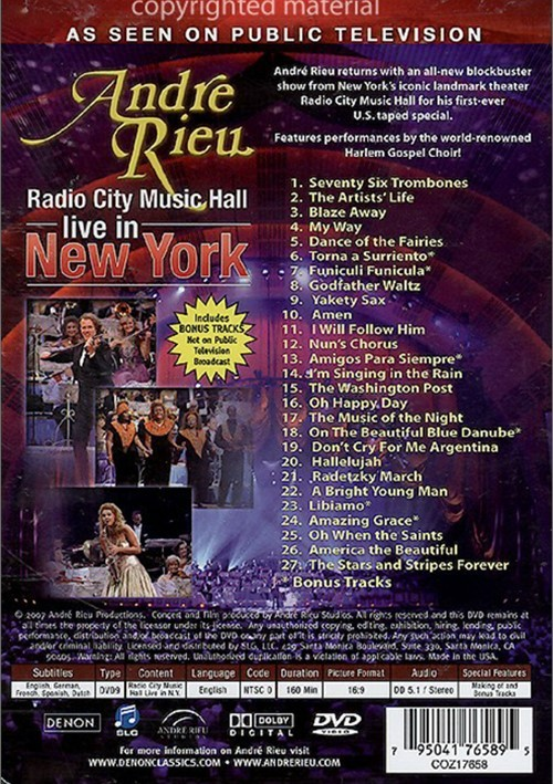 Andre Rieu: Radio City Music Hall Live In New York (DVD