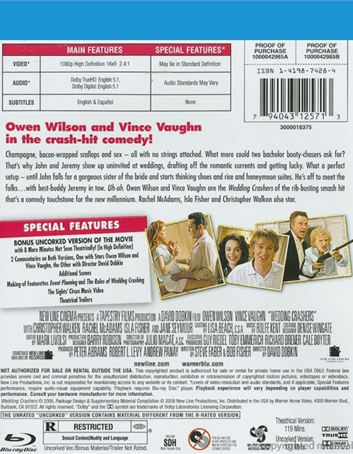 Wedding Crashers: Rated And Unrated (Blu-ray 2005)