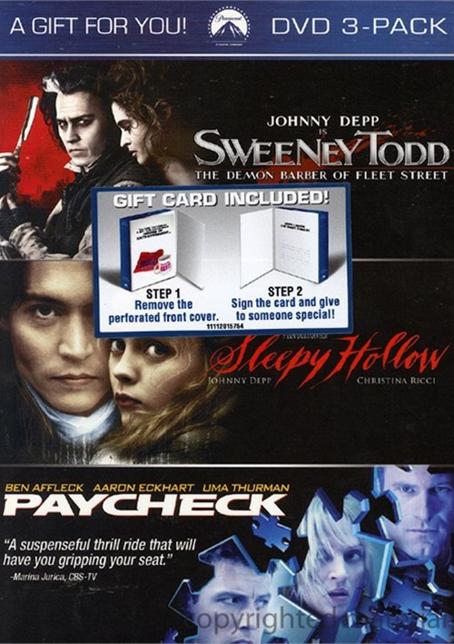 Sweeney Todd / Paycheck / Sl--py Hollow (3 Pack)