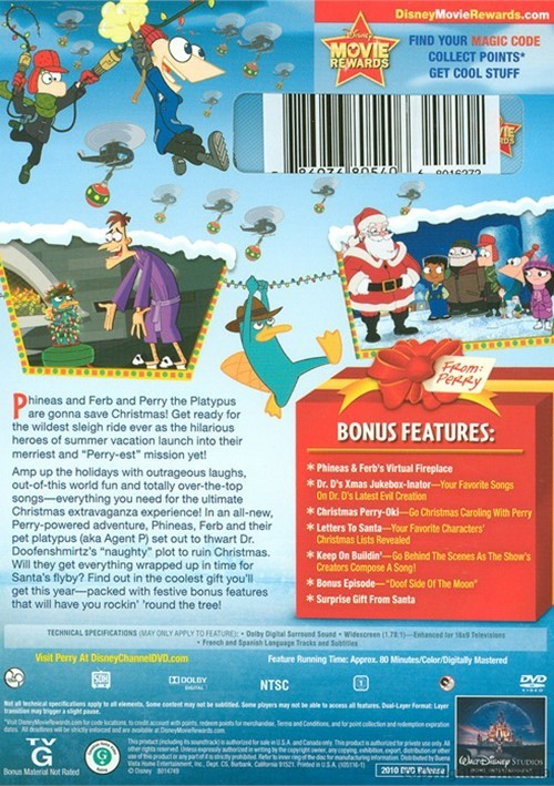phineas and ferb a very perry christmas back cover art