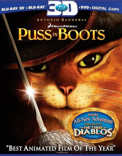 Puss In Boots 3D (Blu-ray 3D + Blu-ray + DVD + Digital Copy)