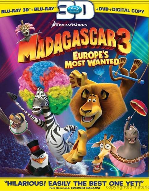Madagascar 3: Europes Most Wanted 3D (Blu-ray 3D + Blu-ray + DVD + Digital Copy)