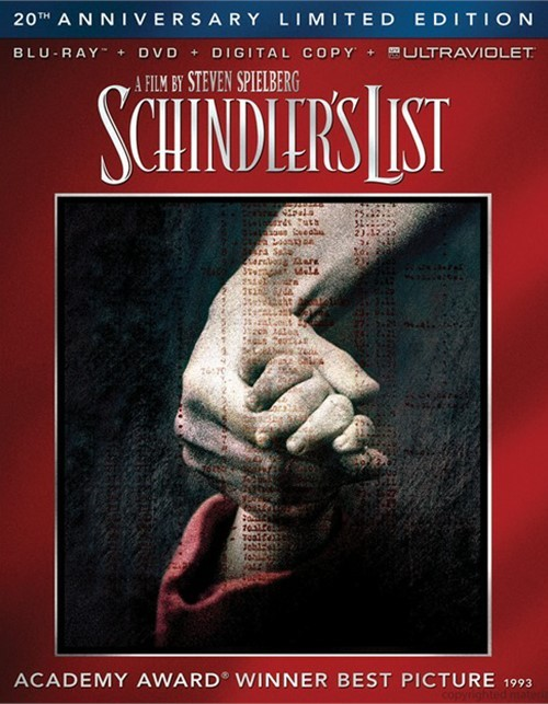 Schindlers List: 20th Anniversary Edition (Blu-ray + DVD + Digital Copy + UltraViolet)