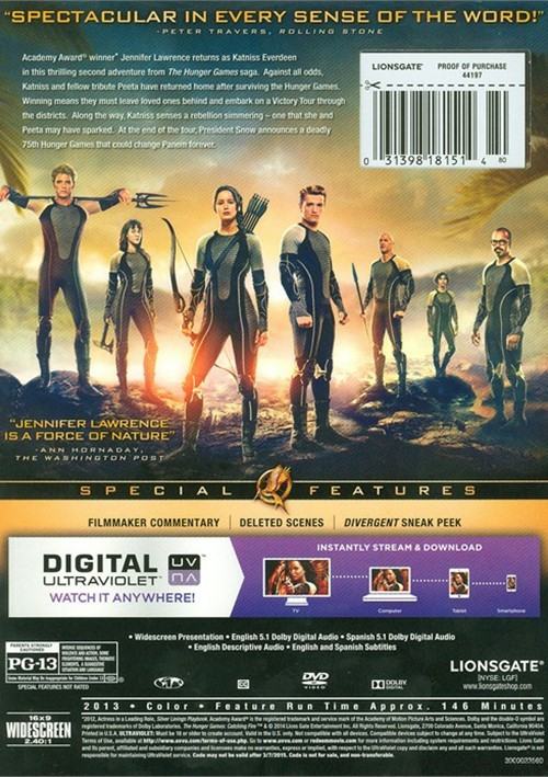 Hunger Games, The: Catching Fire (DVD + UltraViolet) (DVD ...