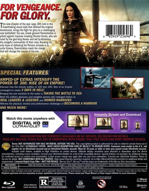 300 rise of an empire blu ray dvd ultraviolet blu ray 2014 dvd empire. Black Bedroom Furniture Sets. Home Design Ideas