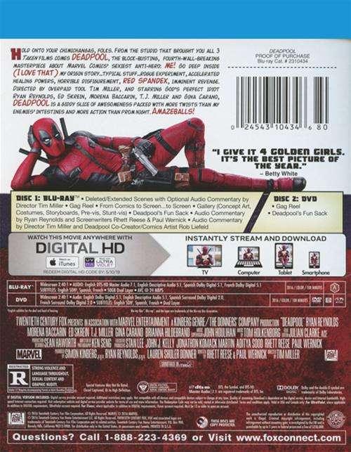 Deadpool (Blu-ray + DVD + UltraViolet) (Blu-ray 2016)   DVD Empire