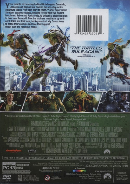 Teenage Mutant Ninja Turtles Out Of The Shadows Dvd 2016 -3779