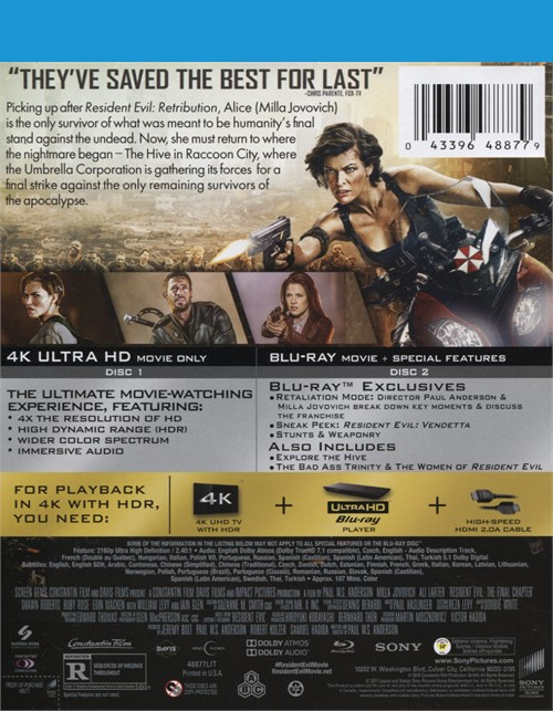 Resident evil the final chapter 4k ultra hd blu ray ultraviolet blu ray 2016 dvd empire - Resident evil final chapter 4k ...
