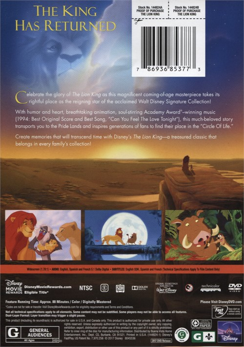 lion king  the  dvd 1994