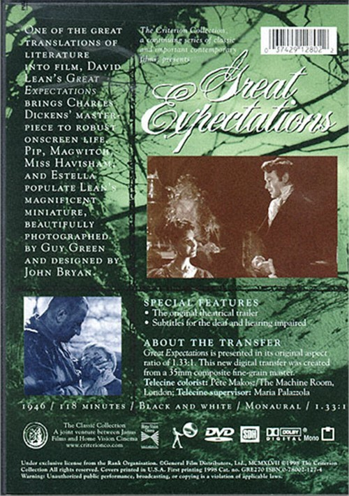 tension in david leans great expectations Either dickens is the most mediocre writer who ever lived or great expectations is an exception to this rule for years the best adaptation of great expectations was considered the david lean-directed 1940s cinematic version in black and white.