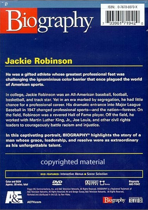 a brief biography of jackie robinson Kids learn about the biography of jackie robinson, the first african-american to play major league baseball he was a hall of fame player for the brooklyn dodgers who wore number 42.