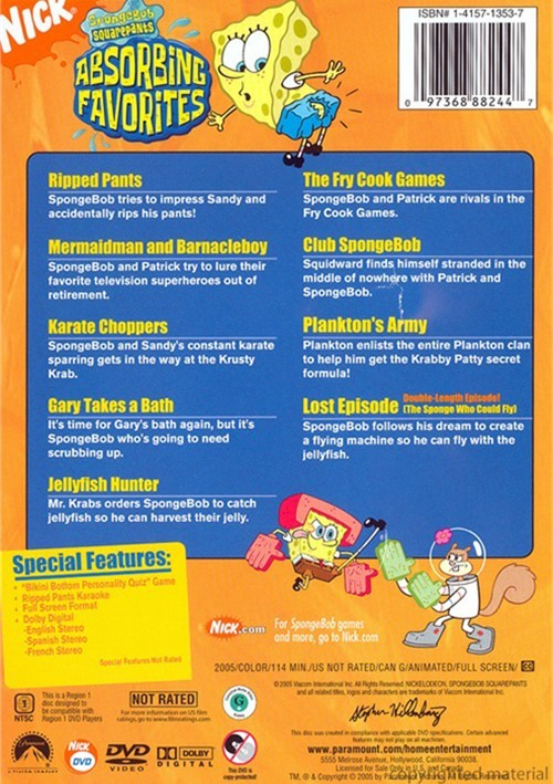 spongebob squarepants absorbing favorites dvd 2005
